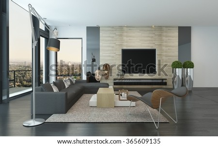 Comfortable spacious modern living room interior with large view windows with a view of the city and an outdoor patio and a comfortable lounge suite and chairs indoors. 3d Rendering. - stock photo