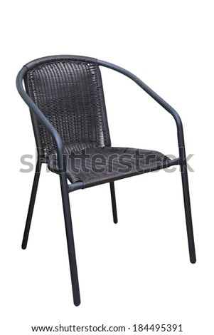 Comfortable wicker brown chair isolated on White Background - stock photo