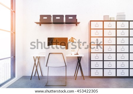 Comfortable workplace in modern office environment. Computer on desk. Big window. Set of drawers. 3D render. Toned image. - stock photo