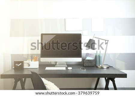 Comfortable workplace with modern computer
