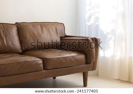 Comfy Brown Sofa - stock photo