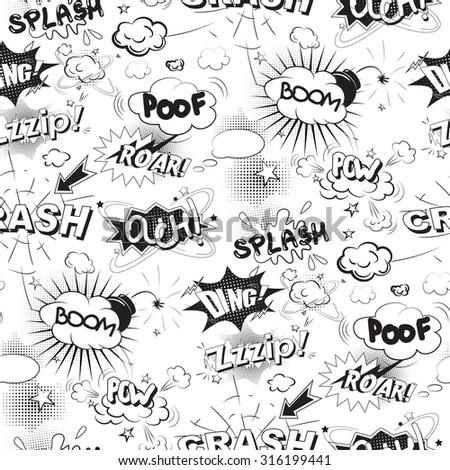 Comic black speech bubbles in pop art style seamless pattern - stock photo