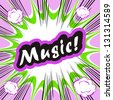 Comic book background Music! concept or conceptual cute Music text on pop art background for your designs or presentations - stock vector