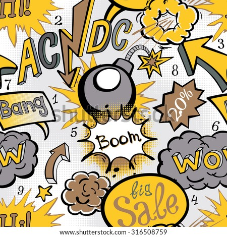 Comic book explosion pattern illustration seamless art acdc