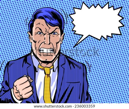 comic book illustrated angry manager with dialogue balloon and blue background - stock photo