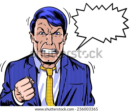 comic book illustrated angry manager with dialogue balloon and white background