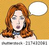 comic book illustrated surprised beauty redhead with thought bubble - stock
