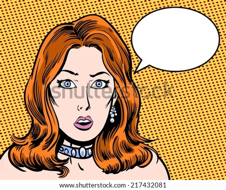 comic book illustrated surprised beauty redhead with thought bubble - stock photo