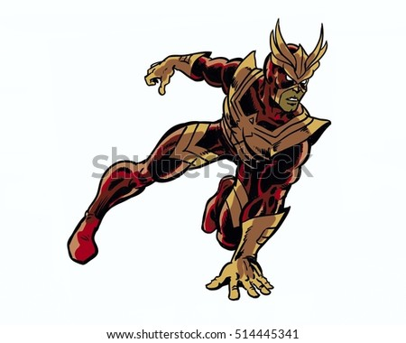 Comic book illustrated vengeful hawk hero character in action pose
