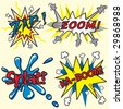 Comic book inspired expressions and explosions - stock vector