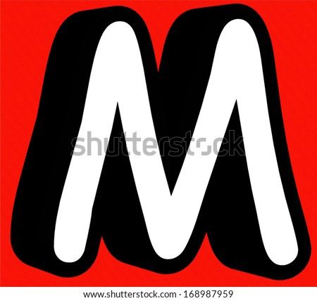 Comic book M letter on red background - stock photo