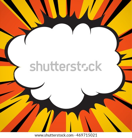 Comic book superhero explosion cloud pop art style yellow radial lines background.