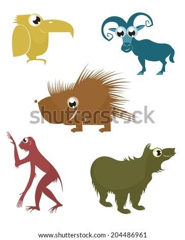 Comic cartoon funny animals silhouette set for design  - stock photo