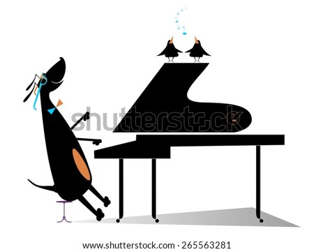 Comic dog plays music by piano and birds pipe - stock photo
