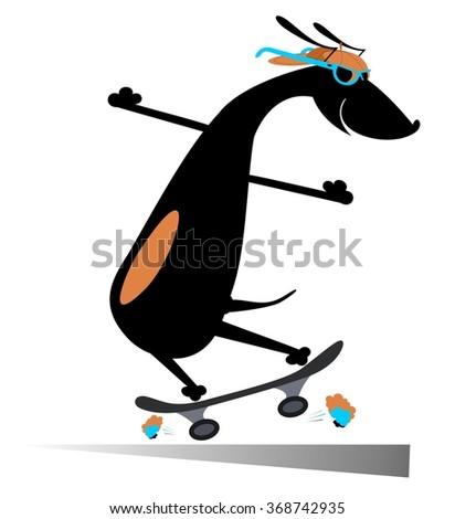 Comic dog rides a skate silhouette - stock photo