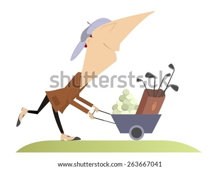 Comic happy golfer goes to play golf  - stock photo