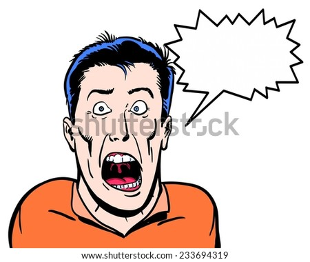 comic illustrated crazy character shouting with white background