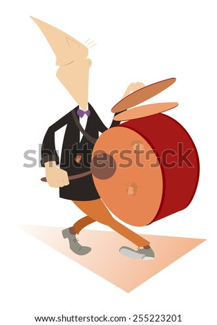 Comic man beats the drum and kettledrums - stock photo