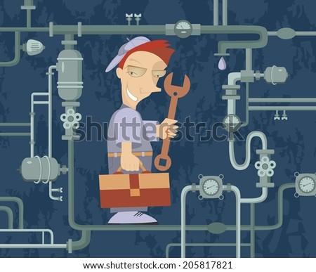 Comic mechanic repairs pipe construction - stock photo