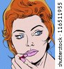 comic pop art illustration of a redhead beauty applying lipstick - stock vector
