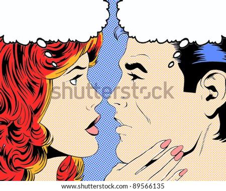 Comic pop art illustration of a romantic moment - stock photo