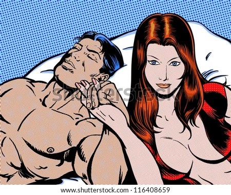 comic pop art illustration of lovers in bed - stock photo