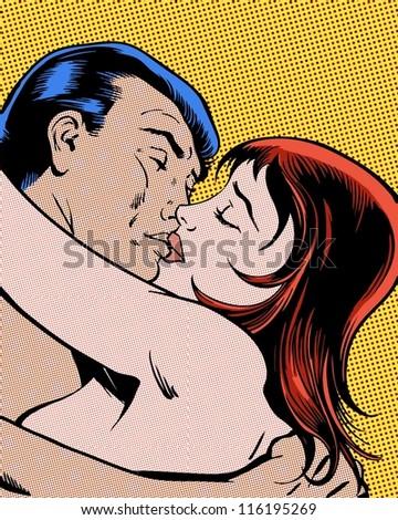 comic pop art illustration passionate embrace and kiss - stock photo