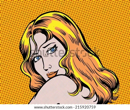 comic pop art sexy glamorous blonde woman - stock photo