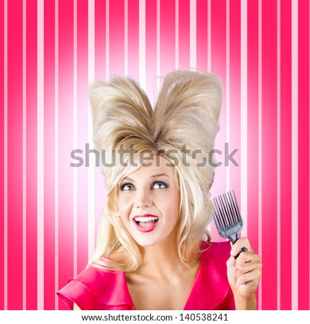 Comic portrait of a retro pinup woman holding styling comb while looking up a heart shaped hairstyle. Hair style love - stock photo
