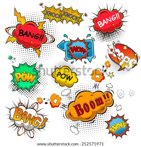 Comic speech bubbles illustration - stock photo