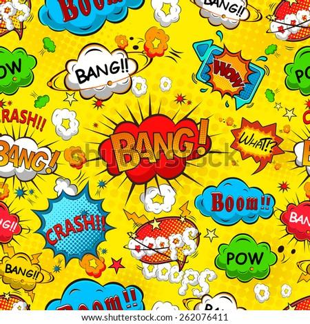 Comic speech bubbles seamless pattern illustration - stock photo