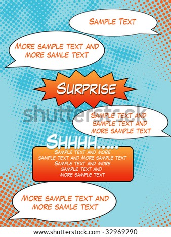 Comic Strip Background with sample text