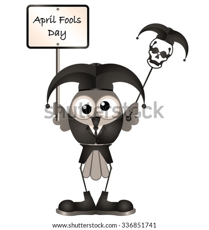 Comical April Fools Day message isolated on white background - stock photo