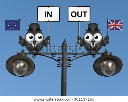 Comical bird campaigners for the United Kingdom in or out European Union perched on a lamppost against a clear blue sky