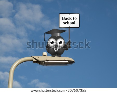 Comical bird teacher with back to school sign sat on a lamp post against a blue sky background - stock photo