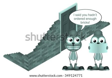 Comical construction worker brick order shortfall isolated on white background - stock photo