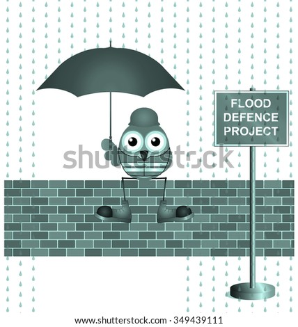 Comical construction worker on flood defence project isolated on white background - stock photo