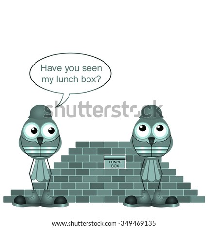 Comical construction workers and missing lunchbox isolated on white background - stock photo