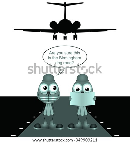 Comical construction workers building new airport runway isolated on white background - stock photo