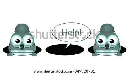 Comical construction workers with colleague stuck in a hole isolated on white background - stock photo