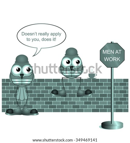 Comical construction workers with men at work sign isolated on white background - stock photo