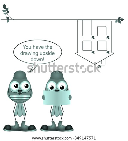 Comical construction workers with upside down plan drawing isolated on white background - stock photo