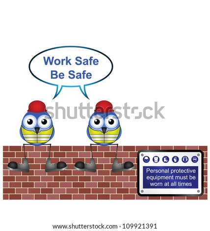 Comical construction workers with work safe message isolated on white background - stock photo