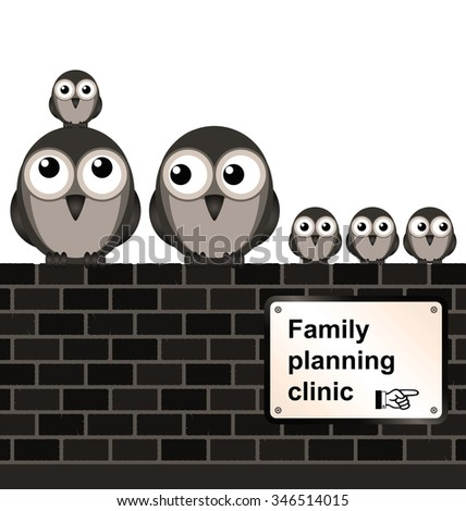 comical family planning sign on brick wall isolated on white background
