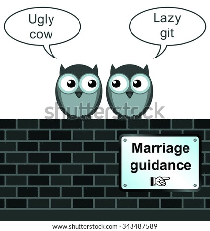 comical marriage guidance sign on brick wall isolated on white background