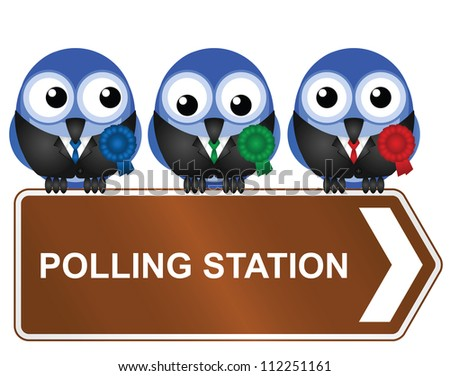 Comical polling station sign isolated on white background
