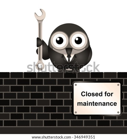 comical website closed for maintenance sign on brick wall isolated on white background - stock photo