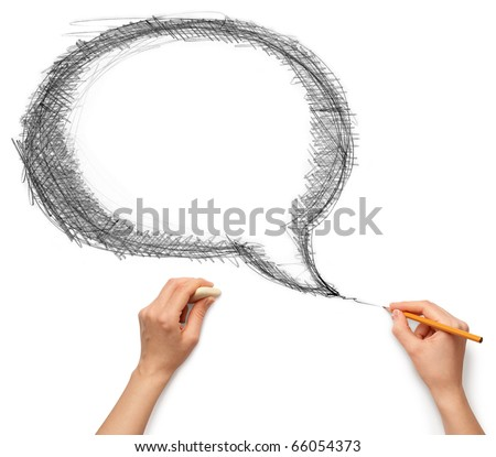 comics bubble and hands with pencil and rubber isolated on white background