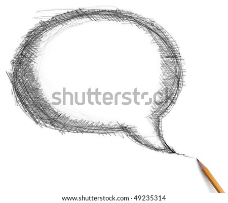 comics bubble and pencil isolated on white background - stock photo