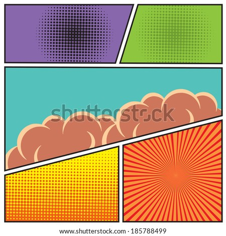 Comics pop art style blank layout template with clouds beams and dots pattern background  illustration - stock photo